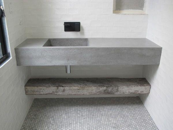 white bathrooms concrete basin - Google Search