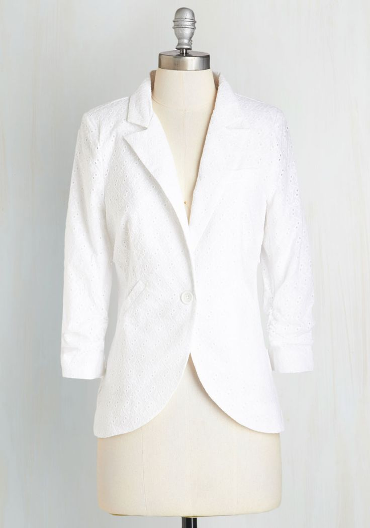 Fine and Sandy Blazer in White Eyelet - Mid-length, Woven, White, Solid, Pockets, 3/4 Sleeve, Variation, Eyelet, Spring, Summer, 70s, Darling, Best, 1, Ruching, Special Occasion, Collared