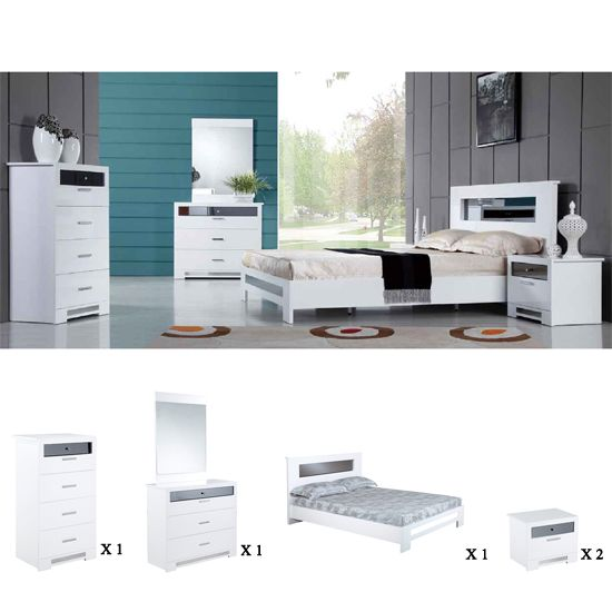 Olivia Bedroom Furniture Sets, High Gloss White