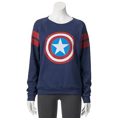 Mighty Fine Marvel Comics Captain America Shield Logo Sweatshirt - Juniors