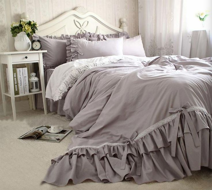 Princess ruffle lace cotton bedding set teen girl,twin full queen king grey…