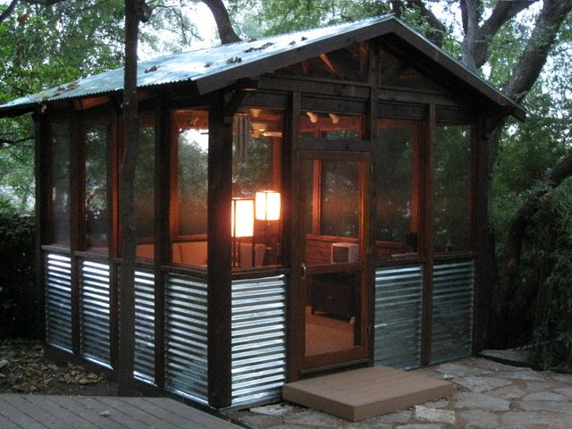 Screened porch. Lights, like the tin as a wainscot.  Lean-to off the back porch?