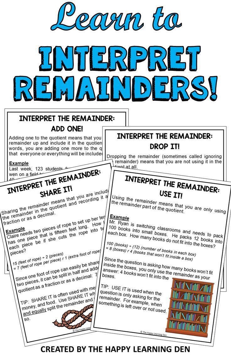 Interpreting The Remainder High School Math Games Interpreting Remainders Teaching Math