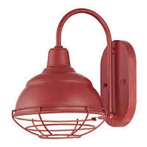 "$74 each. (as sconces?)  RED OUTDOOR LIGHT FIXTURE 8""  Wide Exterior Farmhouse Wall Sconce w/ Wire Cage  #MillenniumLighting"