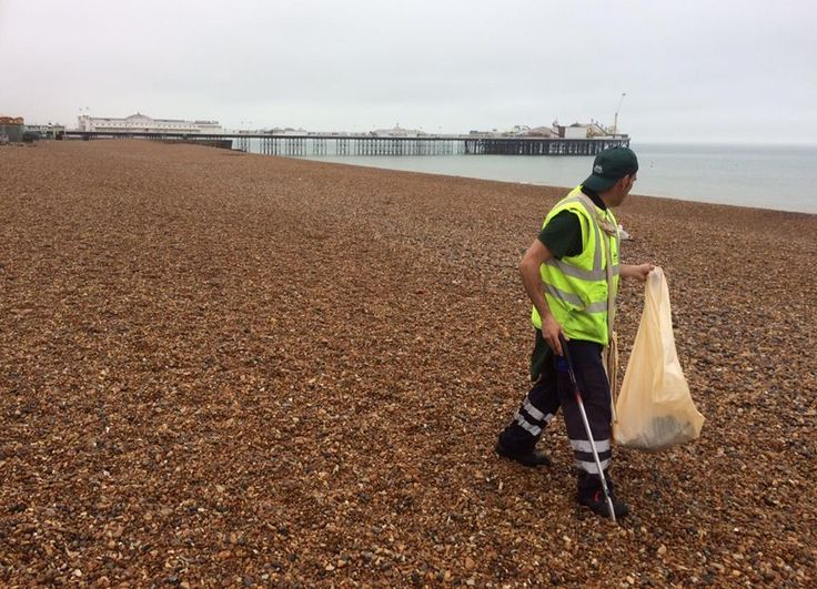 Thousands of tourists and sunseekers attracted to the city as temperatures soared last weekend left nearly 50 tonnes of rubbish on the beach.   Brighton and Hove City Council's litter pickers removed the massive amount of trash, starting as early as 5am to keep the pebbles as spick and span