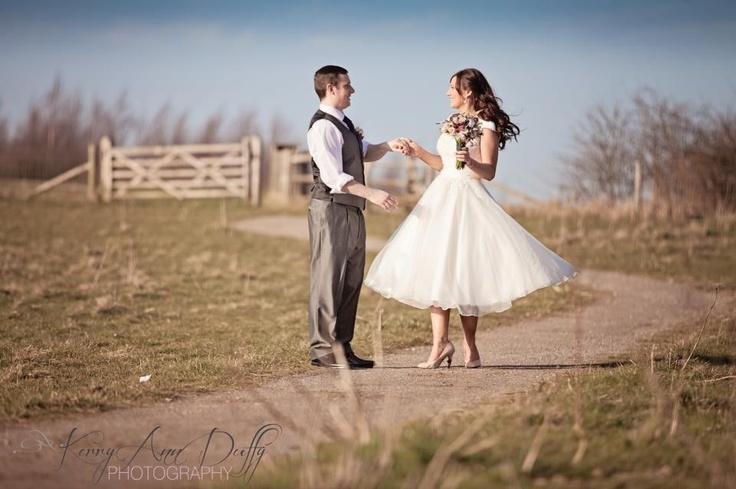 www.kerryannduffy.com Kent Wedding Photographer - Kerry Ann Duffy photography. Tea length wedding dress