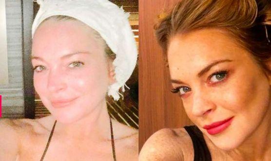 Antes da sauna, Lindsay Lohan faz selfie sem make http://r7.com/s8kS