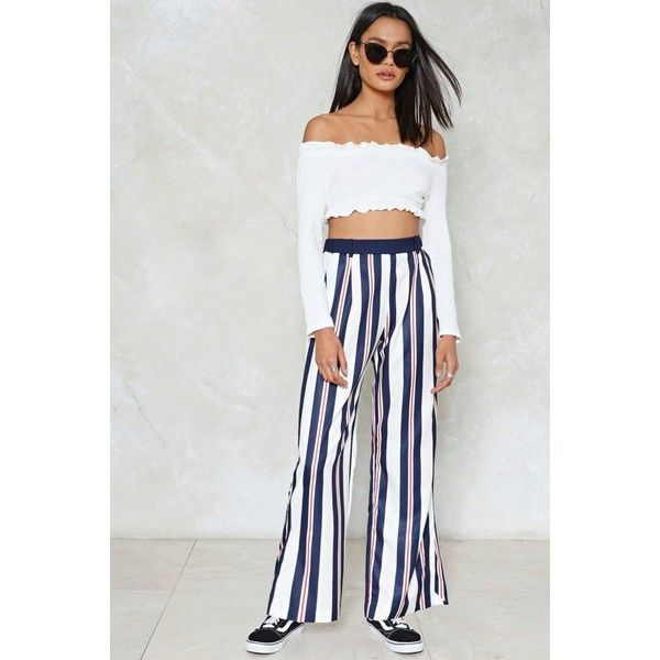 Nasty Gal Don't Think Twice Striped Pants ($50) ❤ liked on Polyvore featuring pants, navy, striped pants, stretch waist pants, navy pants, elastic waist pants and wide leg pants