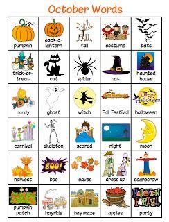 ~Zeek's Zoo~: Writing Center Word List~October