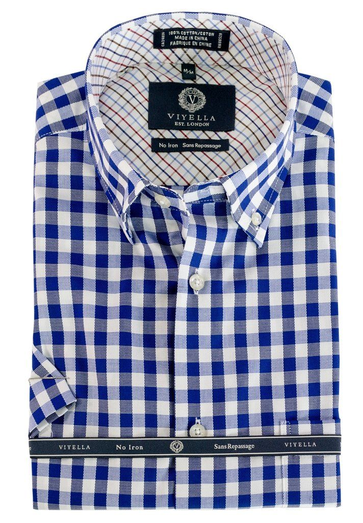 Mens Short Sleeve Viyella Button Down Collar Blue Plaid Shirts Shirts Sports Shirts Performance Shirts