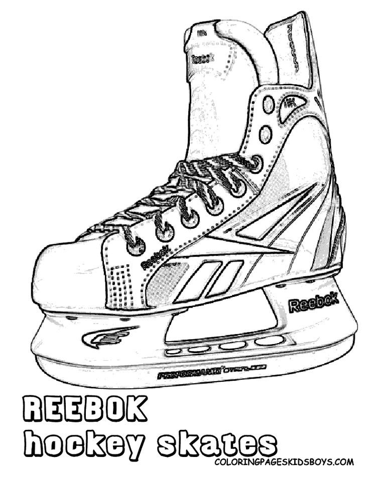 Ice Hockey Skate Drawings Sketch Coloring Page