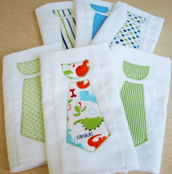 DIY baby boy necktie burp cloths tutorial.