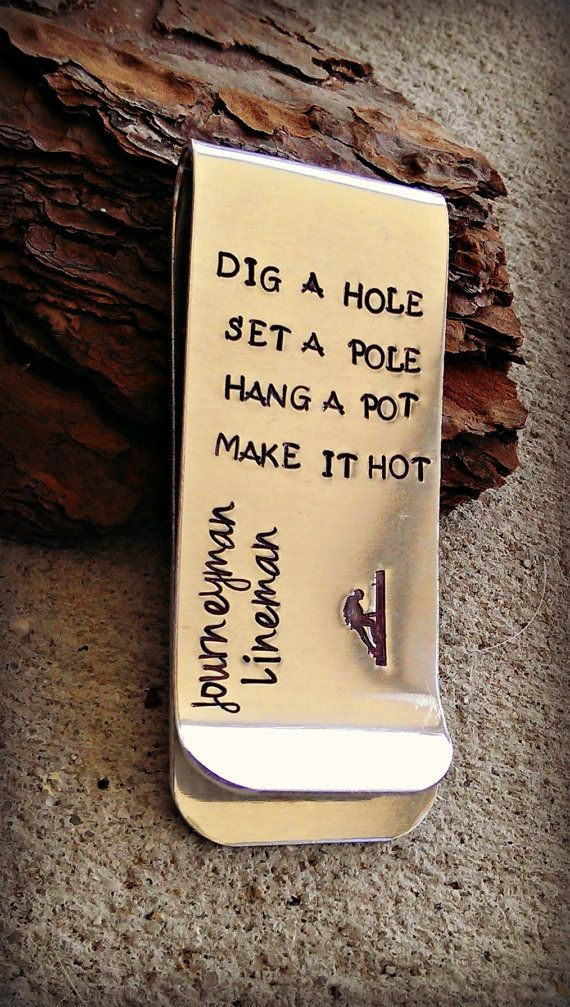 Journeyman Lineman Hand Stamped Money Clip by SweetAspenJewels