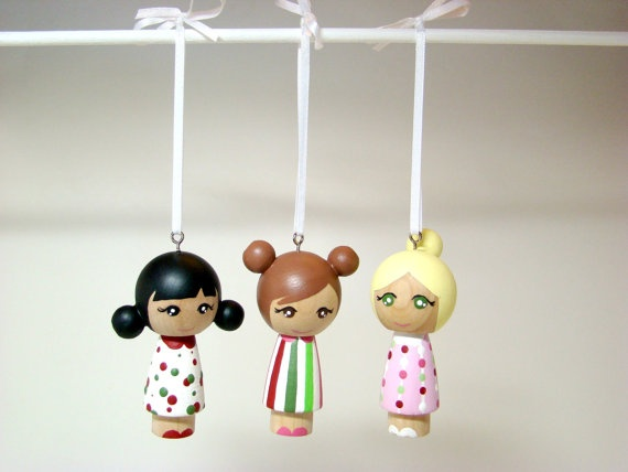 Holiday Ornament Kawaii Kokeshi Girl  Wood Kokeshi Dolls by Pegged, $12.00