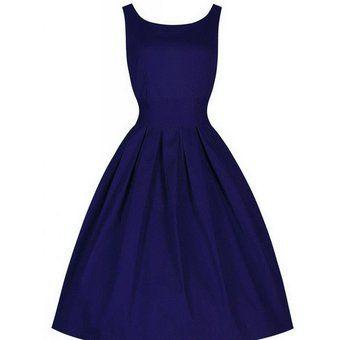 Vestido Estilo De Vintage De Fiesta Elegante Para Mujer-Azul