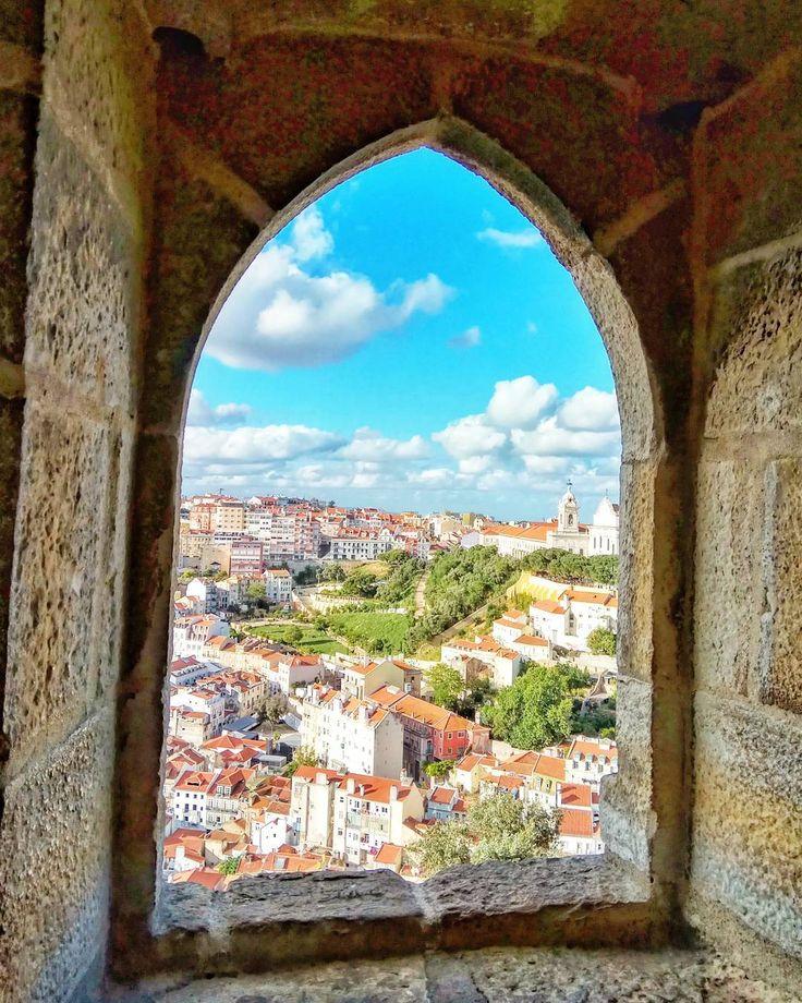 Window with view...  #castle #sky #cityview #lisbon #portugal #travelgram #Traveling #instatravel #instagood #instamood #blue #cloud #cityscape #travelphotography #trip #visitlisbon #artofvisuals