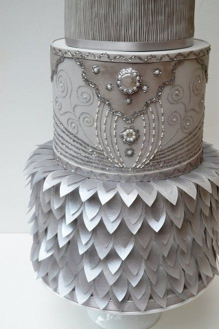 Silver cake design - using pearls and glitter to created this jeweled look on the middle tier. What is it about MIDDLE tiers, that they are nearly always so amazing?