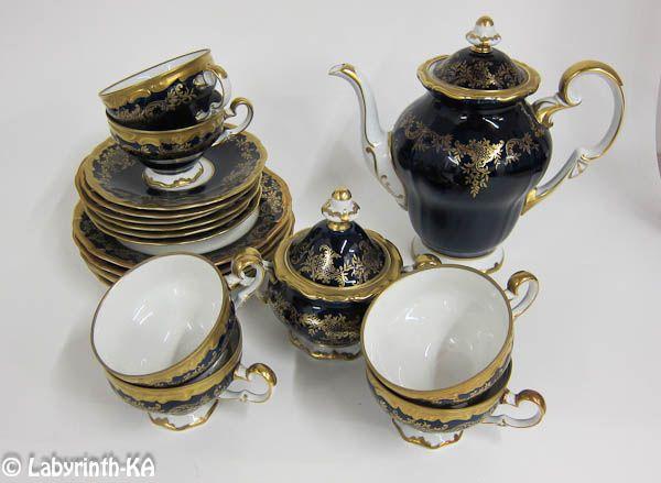 Weimar Porzellan Echt Kobalt Kaffeeservice Katharina für 6 Personen | eBay