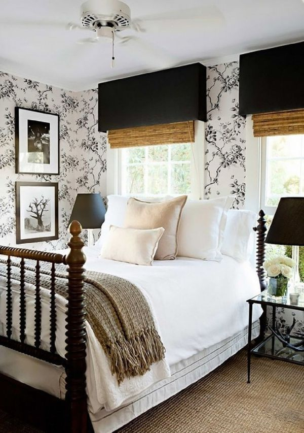 Farmhouse bedroom with Ralph Lauren wallpaper
