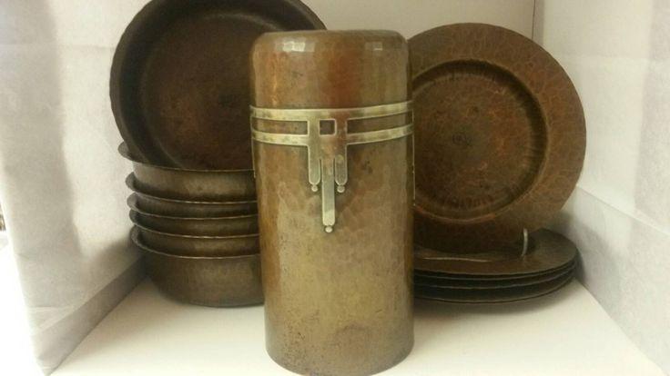 Roycroft Hammered Copper Bullet Vase * 6 Finger Bowls * 6 Nut Trays * Early Mark 1909-1920 * Beautiful Heavy Arts & Crafts Era Copper! by VintageGreenColorado on Etsy
