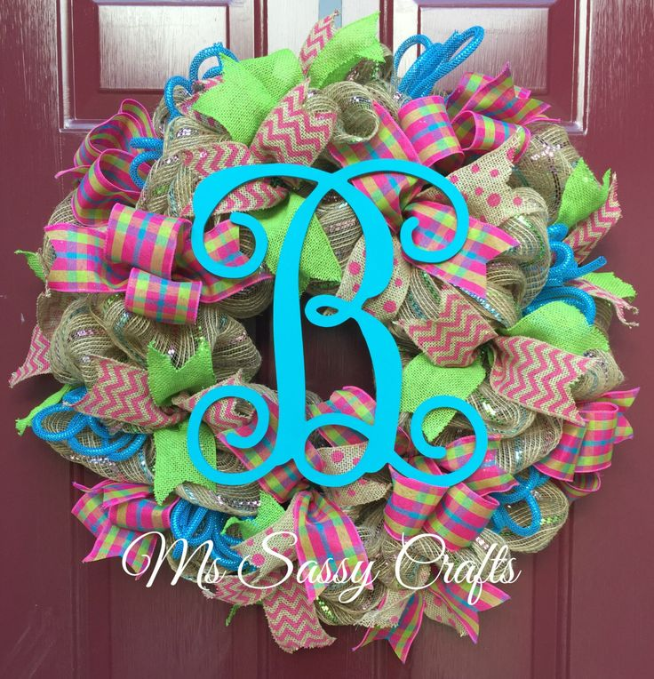 Spring Summer Initial Burlap Deco Mesh Wreath with Green Burlap Pink Chevron Burlap Pink Polka Dot Burlap Ribbon and Pink Plaid Ribbon by MsSassyCrafts on Etsy https://www.etsy.com/listing/228567528/spring-summer-initial-burlap-deco-mesh