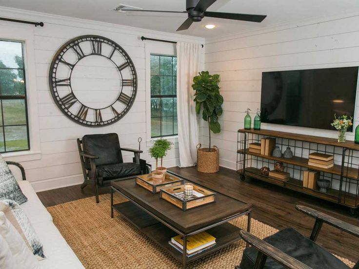 Living Room Feature Wall Design Ideas with big clock wall and white wall color