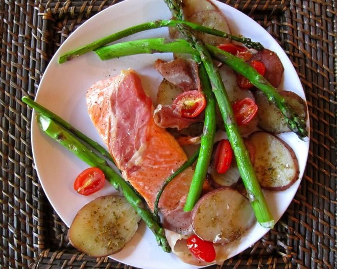 Baked Salmon with Prosciutto, Potatoes, Tomatoes and Asparagus - comes together in less than 30 minutes