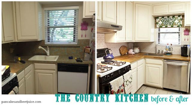Pancakes and Beet Juice: Country Kitchen D-I-almost-Y: Tile Backsplash and Ikea Butcherblock Counter Tops
