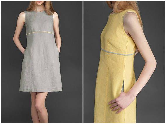 Linen Tank Dress | Grey and Yellow Linen Summer Dresses | Linen Mini Dress | Sleeveless Dresses for Women | 100% Washed Flax Linen Clothing