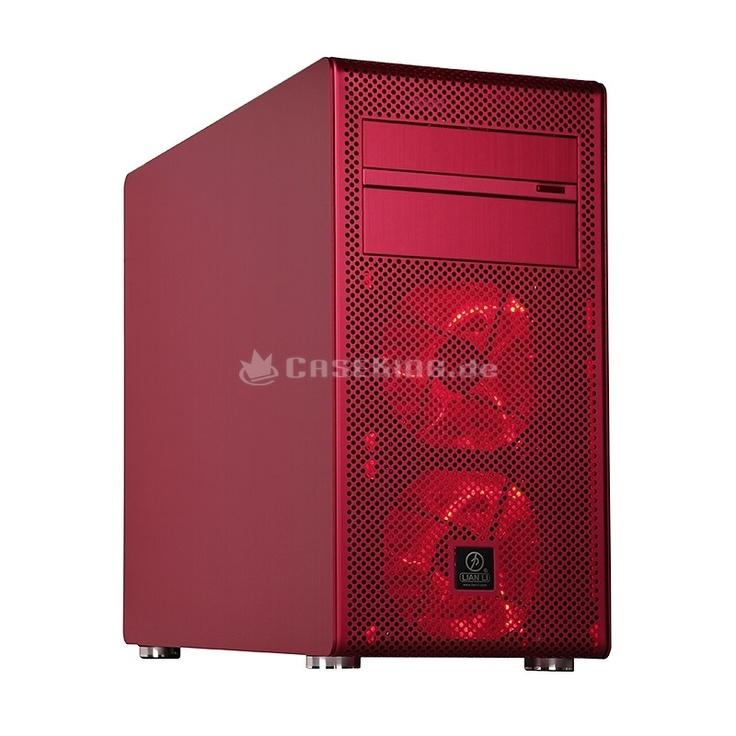 Lian Li PC-V600FR Midi-Tower in rot. Lian Li ist inzwischen langjähriger Maßstab in Sachen Verarbeitungsqualität und überzeugt mit einer Kollektion von schlichter und zeitloser Eleganz sowie innovativen Detaillösungen. Mit dem PC-V600F schickt Lian Li nun ein Modell an den Start, welches die Lücke zwischen den kleinen Cubes und den großen Towern der V-Serie ausfüllt.