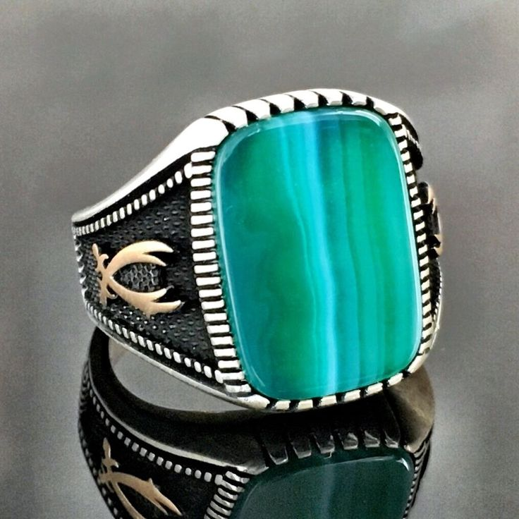 925 Sterling Silver Mens Ring with green Agate Zulfiqar the Legendary Sword 10.5 #Handmade #Solitaire