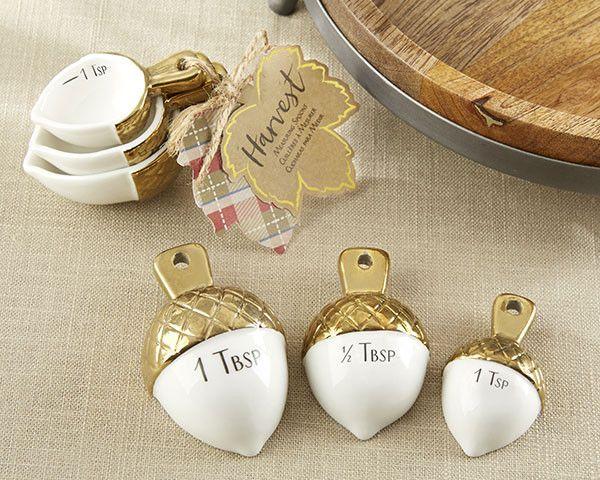 Gold Dipped Ceramic Acorn Measuring Spoons