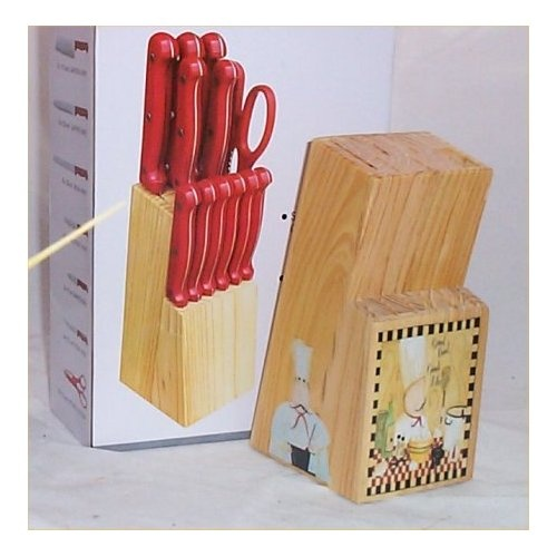 Red 13 Pc Butcher Block Fat Chef Bistro Kitchen Decor Good Food Chef R |  Decorating Kitchen Ideas | Pinterest | Bistro Kitchen Decor, Butcher Blocks  And ...