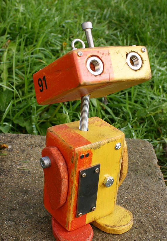Little Robot made reclaimed wood unique hand – molded
