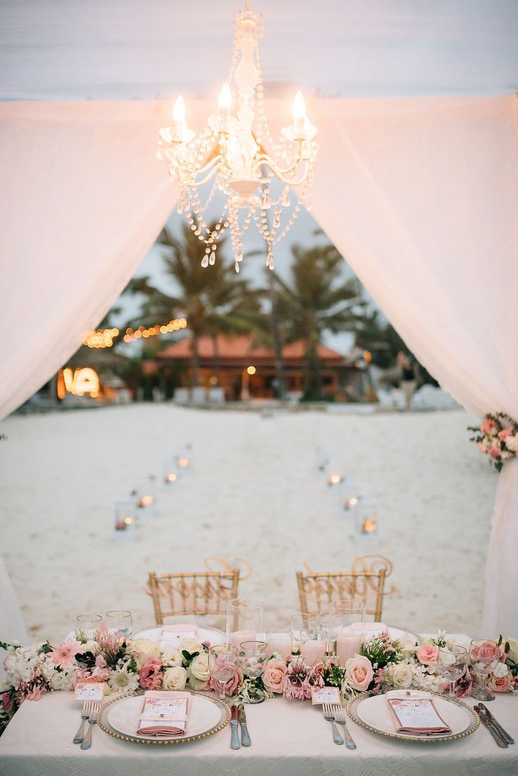 Romantic Dinner After Private Elopement Ceremony Setting On The Beach In Kukua Punta Cana Dominican