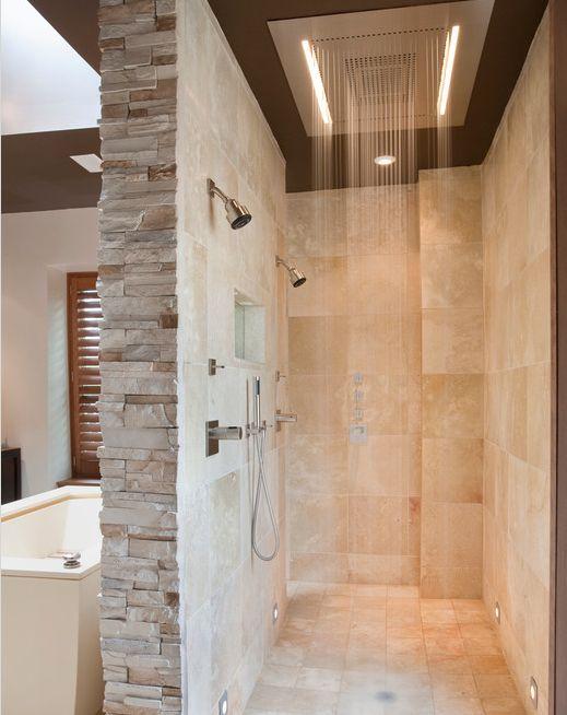 rustic meets modern bathroom : shower fixture : natural stone : shutters : tub
