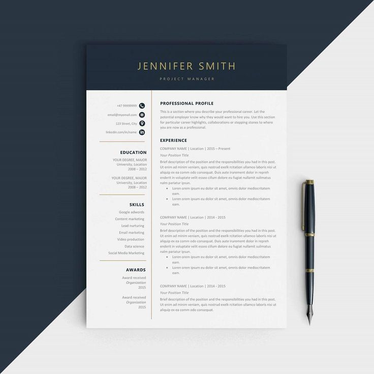 "This version of ""Modern resume template"" is one from the ComelyDesignStudio on Etsy. This one just screams ""executive material,"" and the blue and gold accents add a vintage touch to this modern design. A neat, two-column layout separates your short-form content from your longer information."