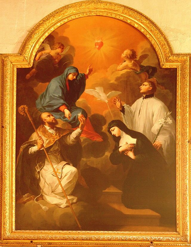 """""""Saõ Francisco de Sales Oferecendo seu Coração à Virgem Maria com Santa Joana Francisca de Chantal"""". (by Rvalette)."""