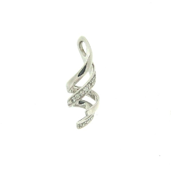 18K white gold diamond swirl design pendant. Set with 10 - total diamond weight 0.06ct round diamonds