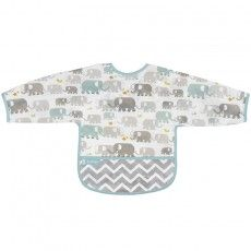 Kushies Clean Bib With Sleeves 12-24 Months (White Elephants)