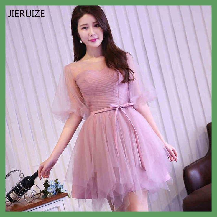 JIERUIZE vestidos de coctel Pink Tulle Puffy Sleeves Short Cocktail Dresses Cheap Short Prom Party Dresses robe de cocktail