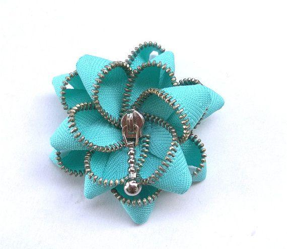 Floral Brooch cyan / Zipper Pin  Approx 28in/ 7 by ZipperDesign, $20.00