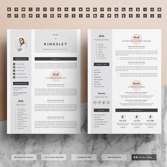 Professional Resume Template For Word 1 2 Page By Oddbitsstudio Letter Icon Resume Template Professional Lettering