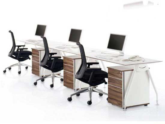Modern White Office Desk With Walnut Finish