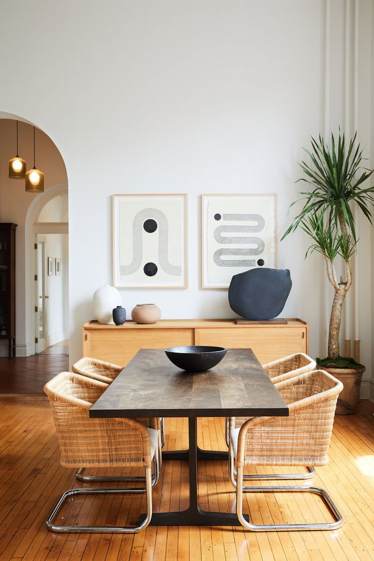 Mid Century Modern Dining Room With Metal Tube Chairs Black Table And Geometric Wall Art Modern Dining Room Dining Room Contemporary Dining Room Inspiration,What Is The Best Color For A Metal Roof