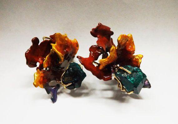 Sculptural Flower Earrings Silver Enamel Gold by BonTonJoyaux