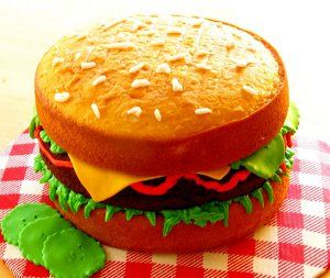 kid-made Cheeseburger Cake- the kids would have fun with this!