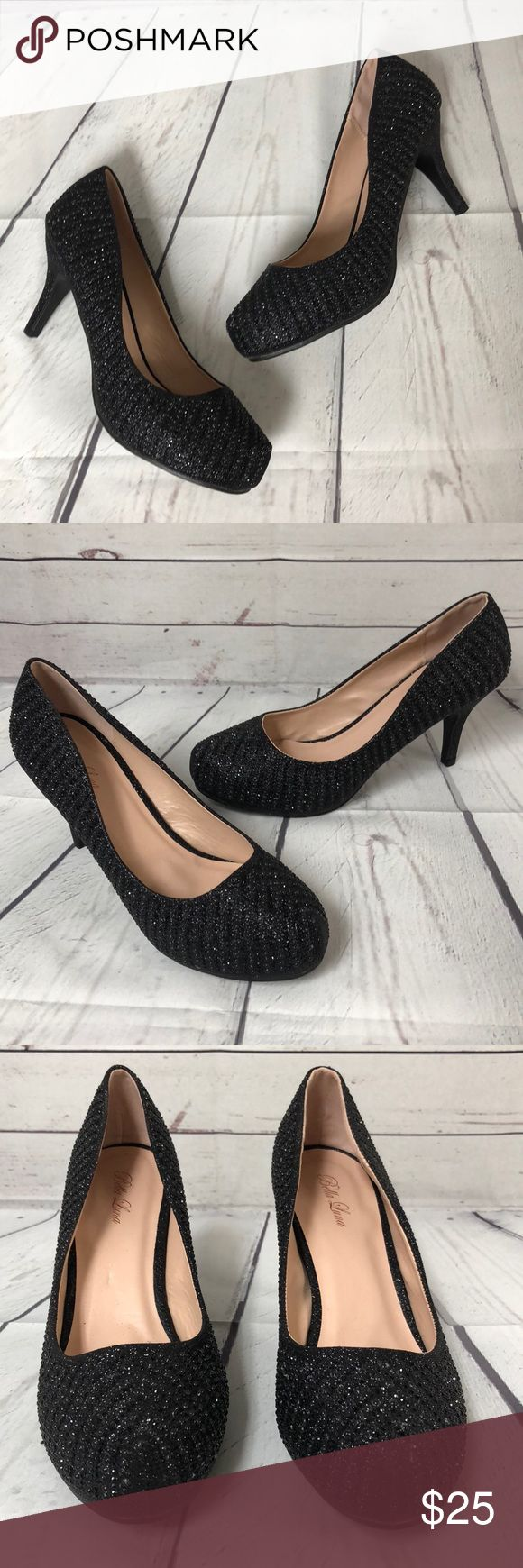 "Bella Luna sparkle beaded black heels 10 new Never used.  Minor shelf wear.  Smoke free.    Heel height 3.5"" bella luna Shoes Heels"