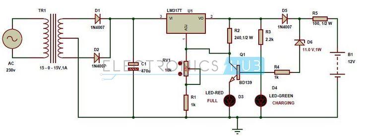 Автоматичне 12v Портативний зарядний пристрій ланцюга за допомогою LM317