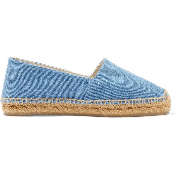 Castañer Kim denim espadrilles (€43) ❤ liked on Polyvore featuring shoes, sandals, mid denim, castaner sandals, slip-on shoes, slip on sandals, espadrille shoes and light blue sandals